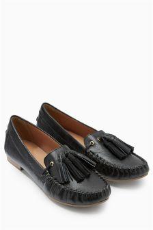 Leather Tassel Moccasins