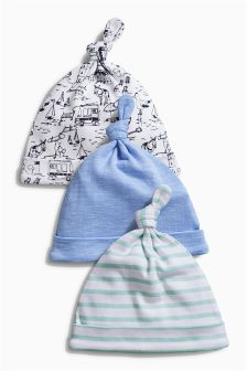 Blue Boat Tie Top Hats Three Pack (0-12mths)