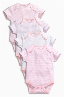 Short Sleeve Bodysuits Four Pack (0mths-3yrs)