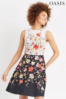 Oasis Ivory Daffodil Placement Skater Dress