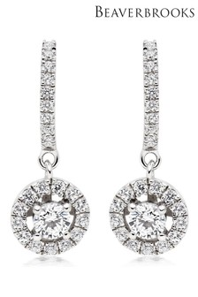 Beaverbrooks Silver Cubic Zirconia Halo Drop Earrings