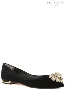 Ted Baker Black Velvet Ljana Embellished Pointed Flat