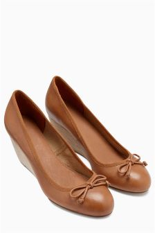 Leather Casual Bow Wedges