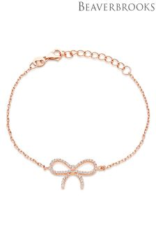 Beaverbrooks Silver Rose Gold Plated Cubic Zirconia Bow Bracelet