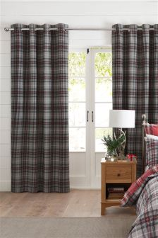Red Check Eyelet Curtains