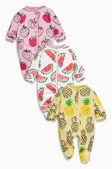 Bright Fruit Print Sleepsuits Three Pack (0mths-2yrs)