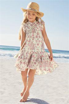 Pink/Cream Paisley Summer Dress (3-16yrs)