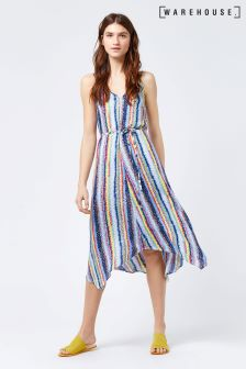 Warehouse Blue Dash Stripe Hanky Hem Dress