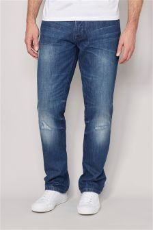 Mid Blue Distressed Jeans