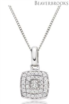 Beaverbrooks Vintage 9ct White Gold Diamond Pendant