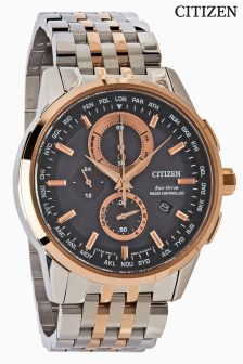 Silver Citizen Eco Drive World Chronograph A.T Watch