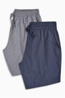 Check/Grey Dobby Woven Shorts Two Pack