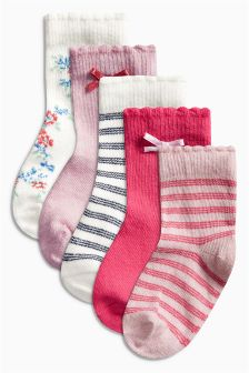 Pink Multi Five Pack Socks (Younger Girls)