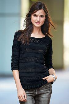 Black 3/4 Sleeve Textured Top