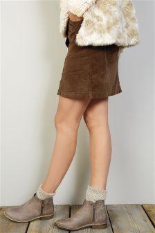 Cord Button A-Line Skirt