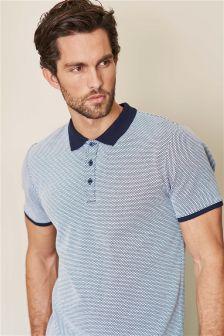 Navy Textured Jacquard Poloshirt