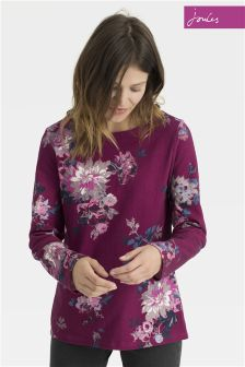 Joules Pink Harbour Print Floral Jersey Top