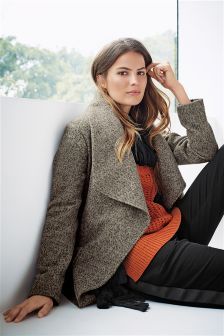 Grey Tweed Waterfall Coat
