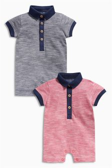 Navy/Red Polo Rompers Two Pack (0mths-2yrs)