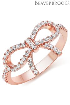 Beaverbrooks Silver Rose Gold Plated Cubic Zirconia Bow Ring