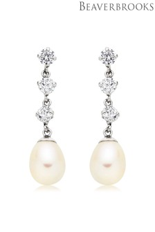 Beaverbrooks 9ct White Gold Fresh Water Pearl Cubic Zirconia Earrings