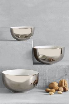 Set Of 3 Silver Effect Dip Bowls