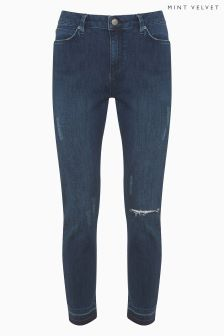 Mint Velvet Maryland Indigo Down Hem Ripped Knee Skinny Jean