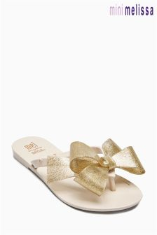 Kids Mel Dreamed By Melissa Gold Glitter Bow Flip Flop