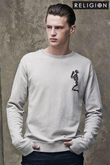 Grey Religion Praying Logo Sweatshirt