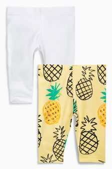 Yellow/White Leggings Two Pack (0mths-2yrs)