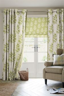 Green Country Sprig Print Eyelet Curtains
