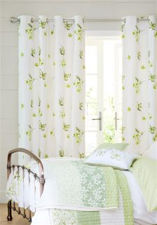 Cotton Green Butterfly Eyelet Curtains