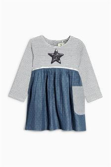 Grey Sequin Star Patched Tunic (3mths-6yrs)