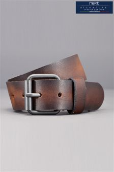 Brown Signature Italian Leather Casual Burnished Edge Belt