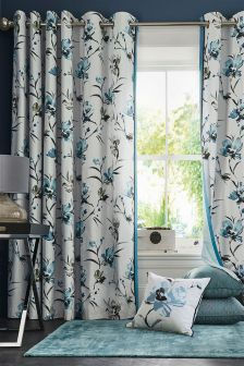 Nara Watercolour Floral Print Eyelet Curtains
