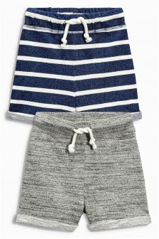 Navy Stripe/Grey Textured Shorts Two Pack (3mths-6yrs)
