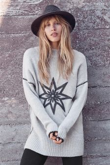 Mint Velvet Silver Grey Funnel Neck Star Chunky Tunic