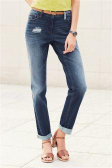Belted Boy Fit Jeans