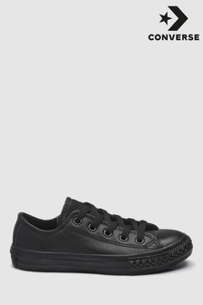 Black Converse Black Leather Chuck Taylor Ox