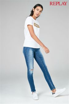 Replay® Dark Wash Knee Rip Luz Skinny Jean