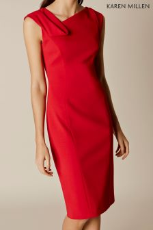 Karen Millen Red Fold Detail Pencil Dress