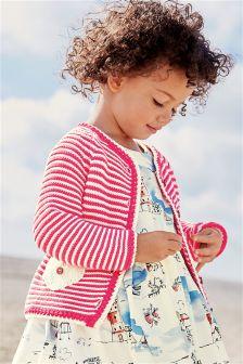 Raspberry Striped Cardigan (3mths-6yrs)