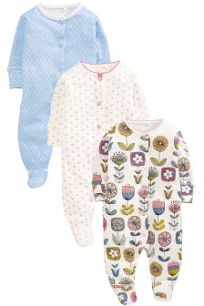 Three Pack Blue Modern Flower Sleepsuits (0mths-2yrs)