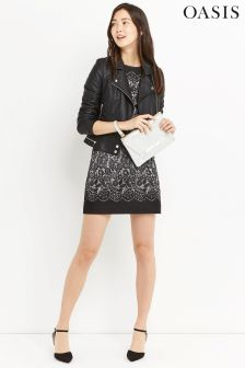Oasis Black Nottingham Lace Jacquard Shift