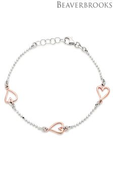 Beaverbrooks Silver Rose Gold Plated Heart Bracelet