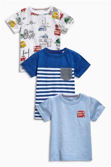 Blue City Print T-Shirts Three Pack (3mths-6yrs)