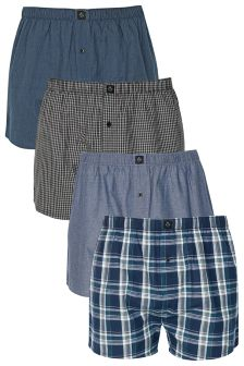 Navy Mix Woven Boxers Four Pack