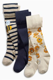 Bees, Floral and Navy Tights Three Pack (0mths-6yrs)
