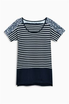 Navy Stripe Woven Mix Boat Neck Sweater