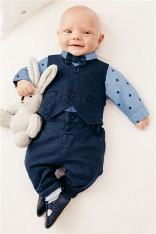 Navy Smart Four Piece Jersey Set (0mths-2yrs)